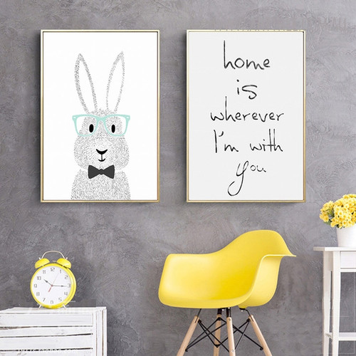 Sweet Home Animal Quotes Painting Print for Study Room Decor