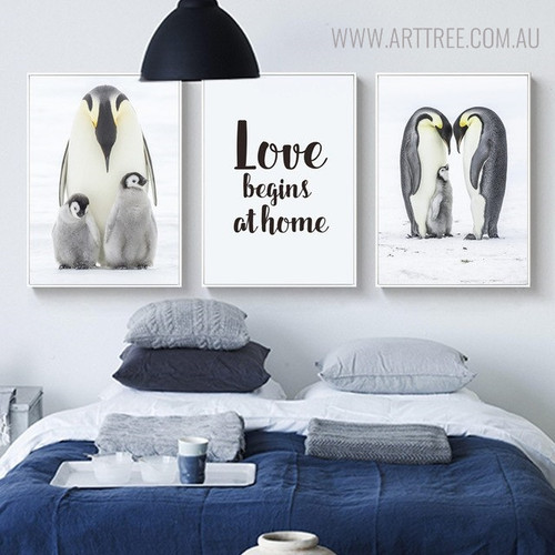 Emperor Penguins Bird Quotes Wall Art for Bedroom Decor