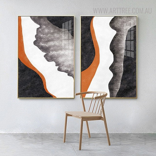 Black Orange Abstract Contemporary Watercolor Painting Print for Living Room Decor