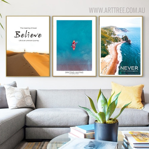 Travel Believe Quotes Landscape Painting Print for Living Room Decor