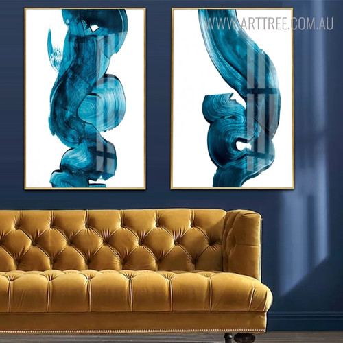 Abstract Blue Watercolor Painting Canvas Print for Room Decoration