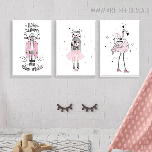 Smile! Quotes Animated Artwork Kids Room Wall Decor