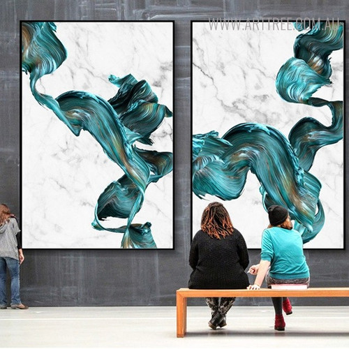 Gaudy Marble Abstract Watercolor Painting Print for Lounge Room Decor