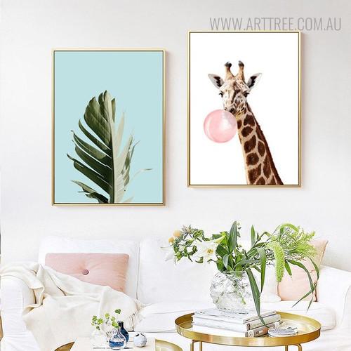 Palm Leaf Botanical Animal Painting Canvas Print