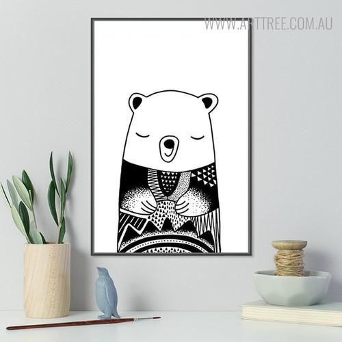 Asleep Bear Animal Black and White Painting Print for Living Room Decor