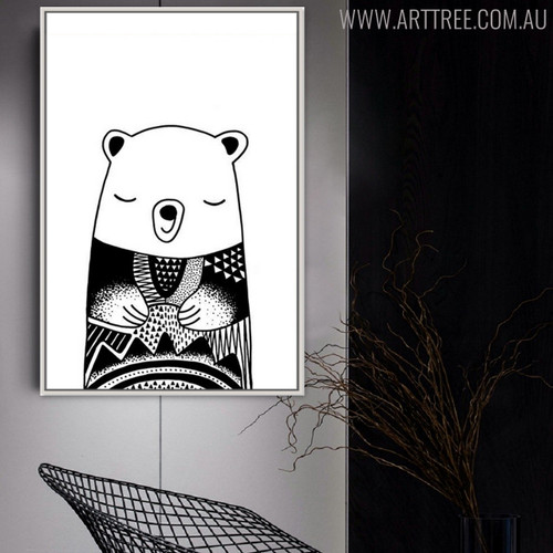 Asleep Bear Animal Black and White Painting Canvas Print for Lounge Decor
