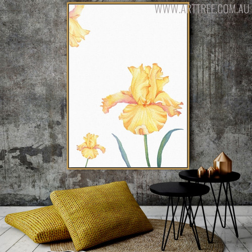 Yellow Iris Floral Wall Art Decor