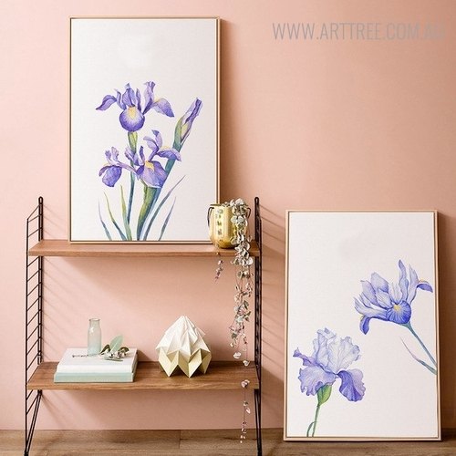 Violet Iris Floral Painting Print for Wall Decoration