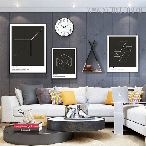Hexagon Shape Abstract Geometric Quotes Painting Canvas Print for Living Room Decor