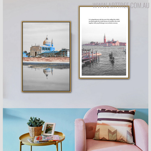 Marina Cityscape Quotes Painting Canvas Print for Living Room Decor