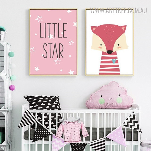 Little Star Animated Animal Modern Quotes Painting Canvas Print for Nursery Wall Decor