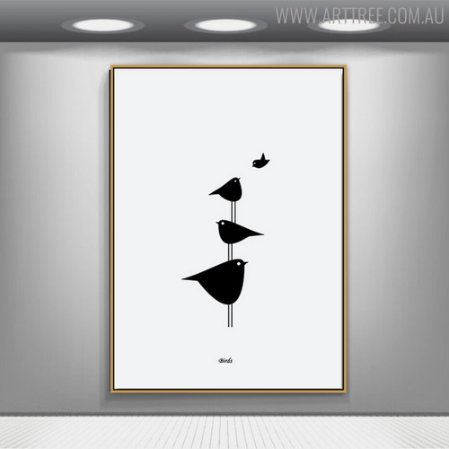 Birds Groups Minimalist Painting Print for Wall Art Decor