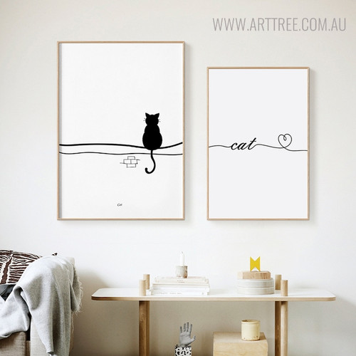 Perched Cat Animal Minimalist Painting Canvas Print for Lounge Room Decoration