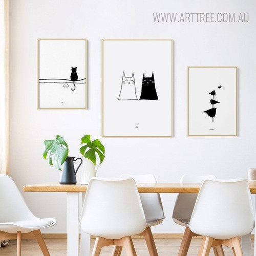 Sedentary Cat Animal Birds Minimalist Painting Canvas Print for Dining Room Wall Design