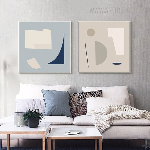 Semi Circle Shape Abstract Modern Geometric Painting Canvas Print for Living Room Decor