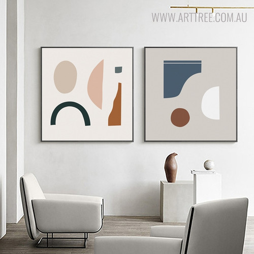 Curved Shapes Abstract Modern Geometric Painting Canvas Print for Room Decor