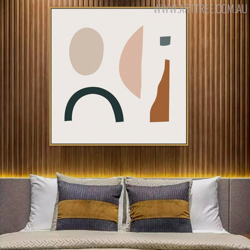Oval Shape Abstract Modern Geometric Painting Canvas Print for Bedroom Decor