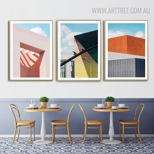 Colorful Terrace Cityscape Modern Picture Print for Dining Room Decor