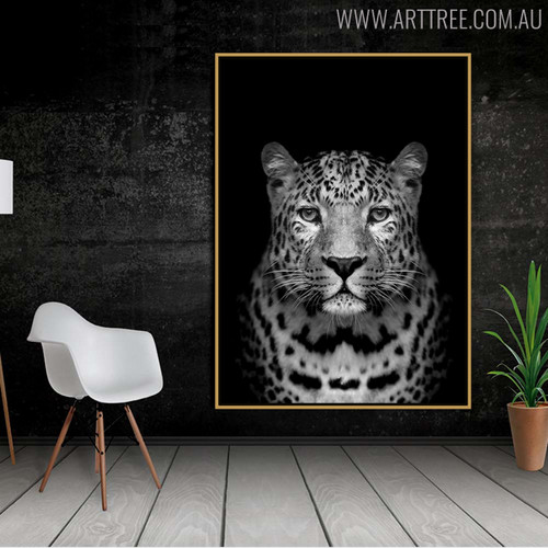 Wild Leopard Animal Painting Canvas Print for Home Wall Decor