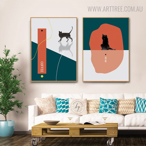 Feral Cats Modern Animal Wall Art for Living Room Ornament