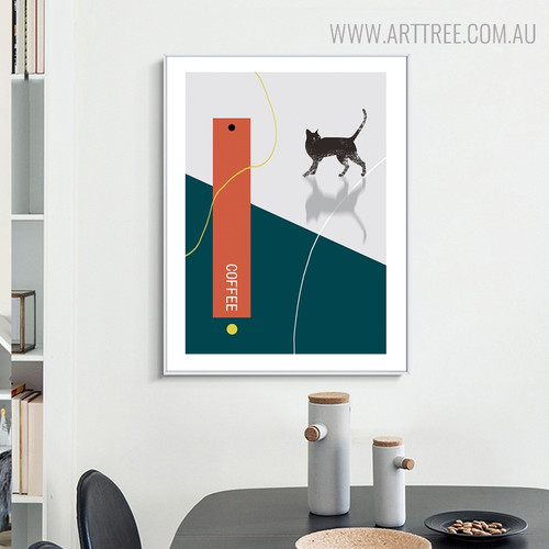Cat Drink Modern Animal Painting Canvas Print for Dining Room Decor