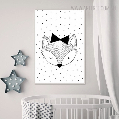 Monochrome Fox Animated Modern Animal Painting Print for Nursery Room Decoration