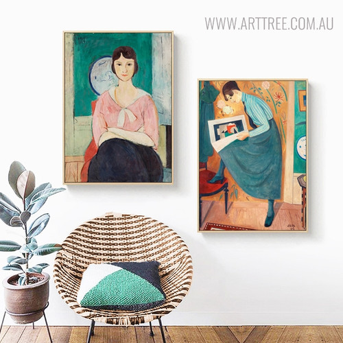 Women Poses Vintage Figure Painting Canvas Print for Living Room Wall Art