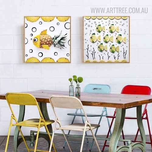 Pineapple Fish Abstract Modern Wall Art Print for Dining Room Decor