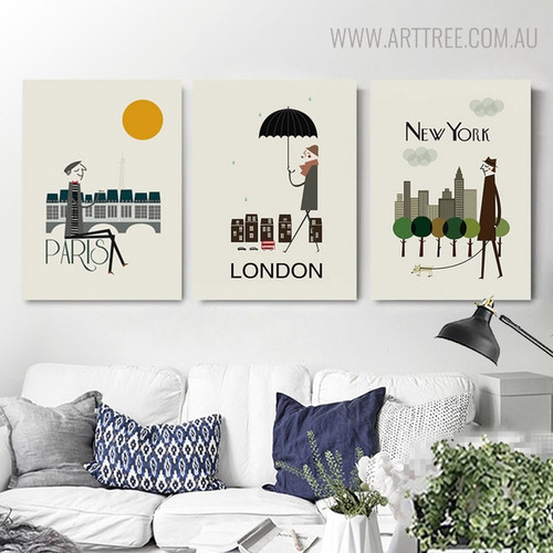 Abstract New York Cityscape Painting Canvas Print for Living Room Decor