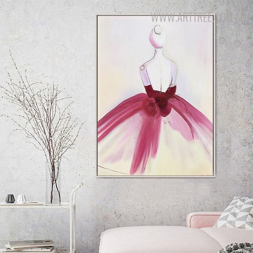 Pink Dress Abstract Watercolor Painting Print for Living Room Wall Ornament