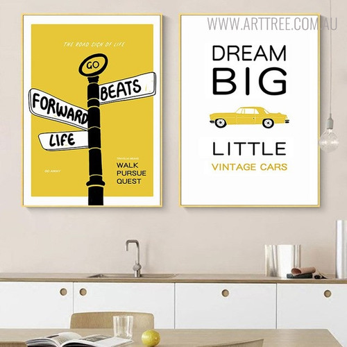 Vintage Cars Quotes Modern Painting Canvas Print for Dining Room Decor