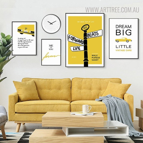Car Quotes Modern Painting Canvas Print for Living Room Decoration