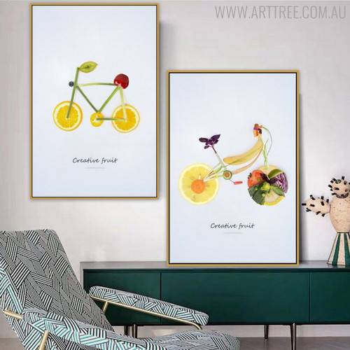 Fruits Cycles Creative Abstract Wall Art Print for Lounge Room Adornment