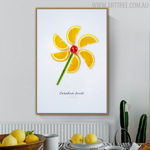 Fruits Fan Abstract Creative Painting Canvas Print for Dining Room Wall Adornment