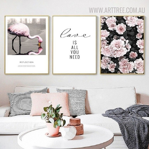 All You Need Bird Nordic Floral Quotes Painting Canvas Print for Living Room Decor