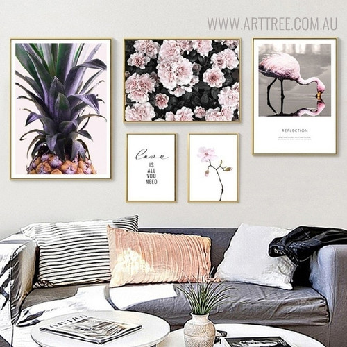 Love is All Bird Nordic Floral Quotes Painting Print for Living Room Ornament