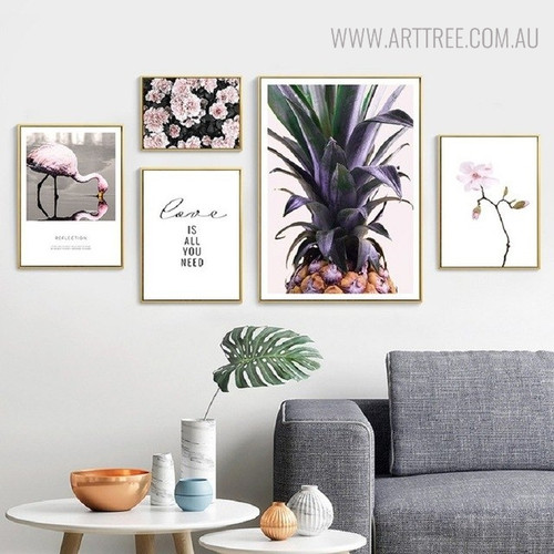 Flamingo Bird Nordic Floral Quotes Painting Print for Living Room Adornment