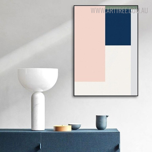 Blue Shade Abstract Geometric Canvas Print for Living Room Ornament