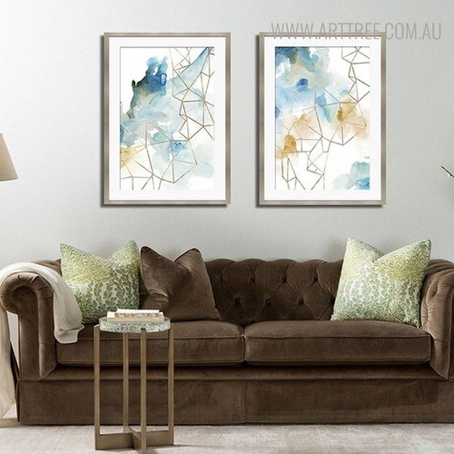 Ink Drop Abstract Watercolor Geometric Painting Canvas Print for Lounge Room Equipment