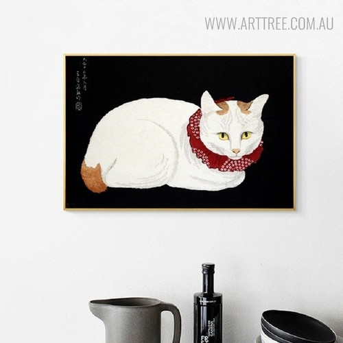 White Cat Realistic Animal Picture Canvas Print for Home Wall Decor