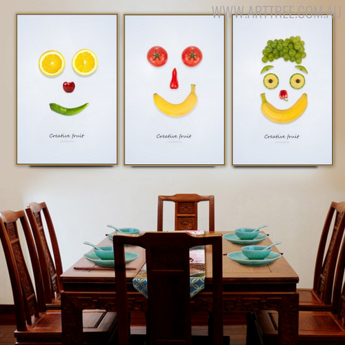 Smiley Faces Abstract Creative Nordic Painting Print for Dining Room Wall Ornament