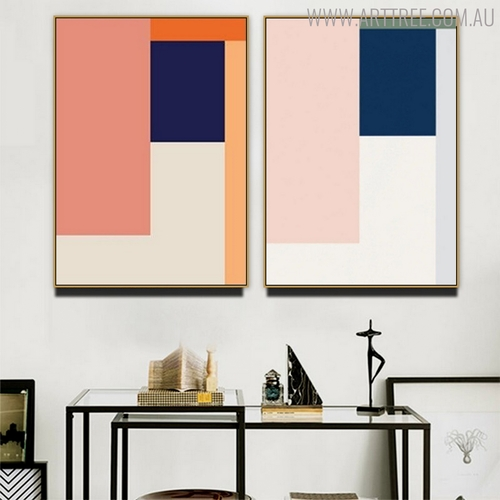 Colorific Shades Abstract Geometric Scandinavian Painting Canvas Print for Living Room Wall Ornament