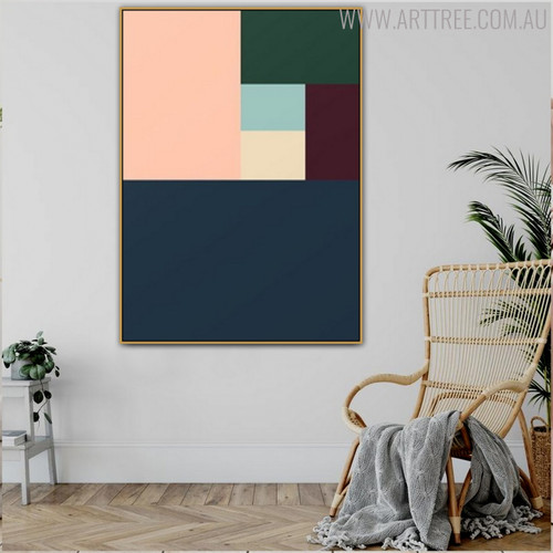 Multicolored Shade Abstract Geometric Scandinavian Wall Art Print for Living Room Ornament
