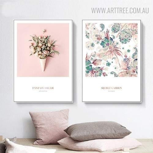 Fantasy Dream Modern Botanical Quotes Painting Canvas Print for Lounge Room Decor