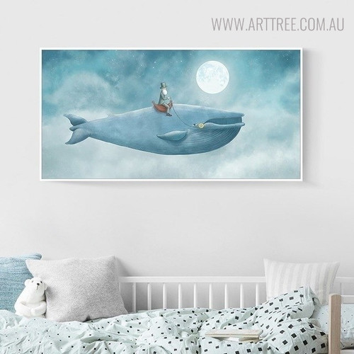 Blue Whale Sea Creature Abstract Watercolor Painting Print for Kids Room Wall Decor