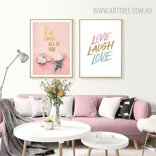 Live Love Modern Floral Quotes Painting Print for Lounge Room Wall Decor