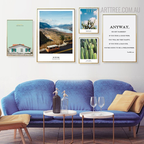 Dreamhouse Modern Floral Landscape Quotes Painting Print for Lounge Room Wall Ornament