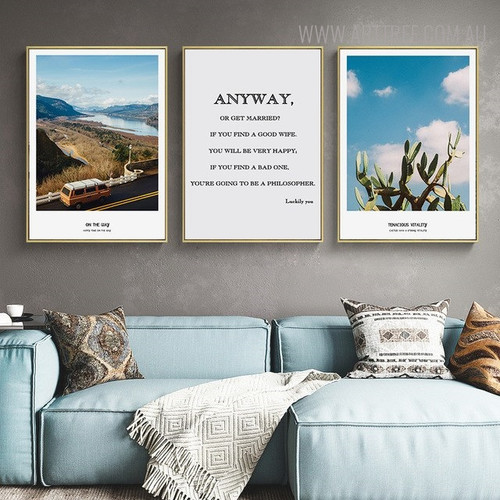 Wife Quotes Modern Floral Landscape Painting Canvas Print for Living Room Decor