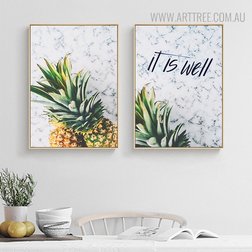 Pineapples Quotes Modern Painting Print for Dining Room Wall Getup