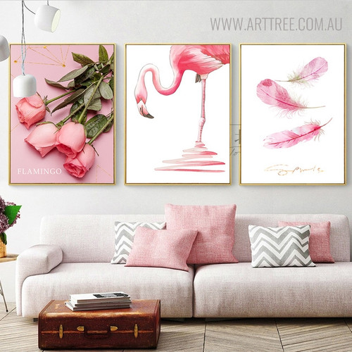 Flamingo Bird Floral Modern Painting Print for Living Room Decor